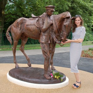 Amy Goodman with her Romsey War Worse Memorial