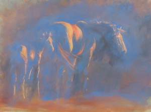 Michelle-Mc-CullaghMORNING-MARE-AND-FOAL,-16-x-12-inches,-oil-on-board